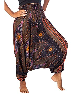 Lofbaz Jumpsuit Pantalones Harem de cintura Ojo de la flor fruncido para Mujeres