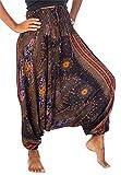 Lofbaz Mujeres Smocked Cintura Floral Patrón 2 en 1 Mono Harén Pantalones Negro S