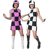 WOMENS 60'S GOGO SHIFT DRESS + HAT FANCY DRESS COSTUME 1960'S PARTY GIRL MOD CHECKERED DRESS BLACK & WHITE OR BLACK & PINK UK 4-18