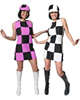 WOMENS 60'S GOGO SHIFT DRESS + HAT FANCY DRESS COSTUME 1960'S PARTY GIRL MOD CHECKERED DRESS BLACK & WHITE OR BLACK & PINK UK 4-18