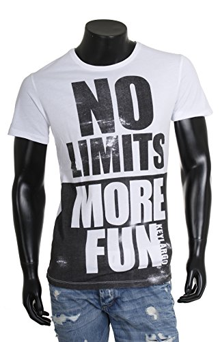Key Largo Herren vintage-used Frontprint T-Shirt NO LIMITS slim fit rundhals kurzarm weiß Weiß