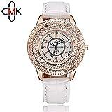 YEARNLY Damen mode Leder Diamant Uhr Lady Crystal Edelstahl Uhr Mode Quicksand Pearl Damenuhr Quarz Uhren Digitaluhr Bunt