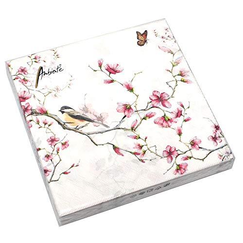 Ambiente 20 Servietten Magnolie Vogel Blüten Schmetterling 3-lagig 33x33cm Tissue Garten -