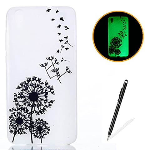 HUAWEI Y6 II/Honor 5A Silicone Gel Case [with Free 2 in 1 Black Touch Stylus],KaseHom Luminous Effect Noctilucent Green Glow in the Dark Cool Fashion Colourful Pattern Design Transparent Ultra Slim Thin Matte Clear Shockproof Soft Rubber Bumper TPU Protective Case Cover Skin Shell for HUAWEI Y6 II/Honor 5A - Birds Dandelions