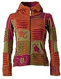 Vishes – Alternative Bekleidung – Mit Blumen bestickte Patchwork Jacke aus Baumwolle, mit Zipfelkapuze dunkelpink-olive 42