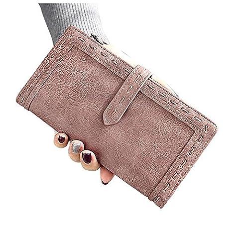 Woolala Womens Vegan Leather Wallet Slim Bifold Cash Phone Cards Holder Clutch Long Purse with Zipper Pocket, Dark Pink