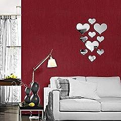 Idea Regalo - 20 pezzi di cristallo amore cuore specchio adesivi murali, acrilico 3D decalcomanie della parete di arte fai da te casa soggiorno bagno TV sfondo Decor, 10 pezzi / lot(Argento 1)