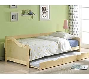 hove 2 in 1 einzelbett mit ausziehbarem g stebett kiefer. Black Bedroom Furniture Sets. Home Design Ideas
