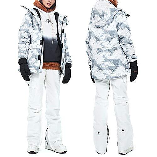 SNHXUE Traje De Esquí para Mujer Chaqueta De Snowboard Impermeable A Prueba De Viento Al Aire Libre Pantalones De Esquí Transpirables Cálidos B White-L