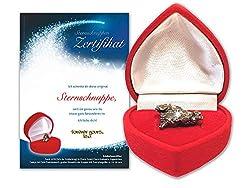 Echte Sternschnuppe in roter Herzbox - inkl. personalisierbarem Sternschnuppenzertifikat mit romantischer Widmung