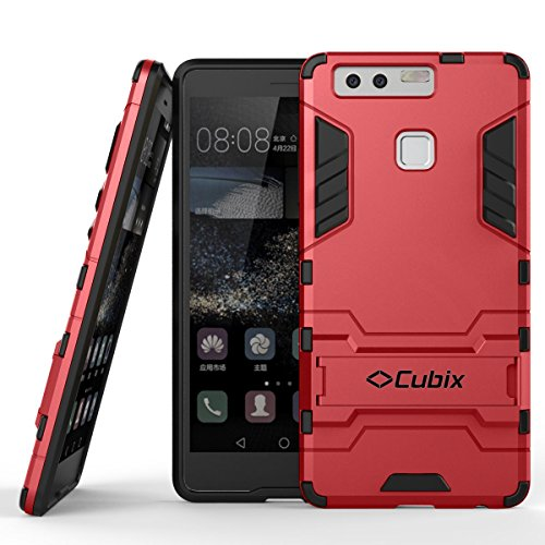 Quicksand Cubix Robot Case For Huawei P9 Case Back Cover Warrior Hybrid Defender Bumper Shock Proof Case Armor Cover With Stand For Huawei P9 Red  available at amazon for Rs.398