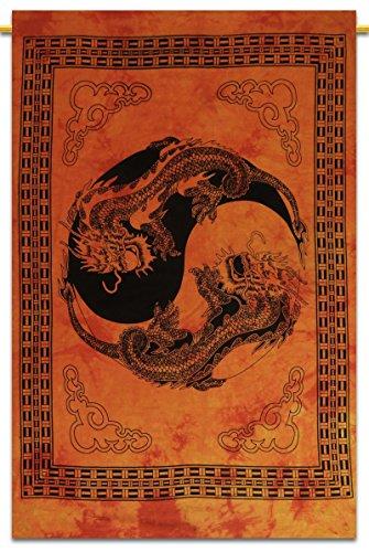 Yin Yang Dragon Gedruckt Wandhängende Baumwolle Tapisserie Poster Größe Décor Throw 42