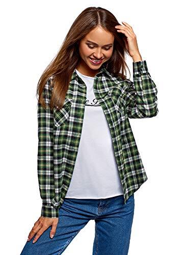 oodji Ultra Mujer Camisa a Cuadros con Bolsillos en el Pecho, Verde, ES 38 / S