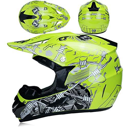 MRDEER Motocross Helm, Adult Off Road Helm mit Handschuhe Maske Brille, Unisex Motorradhelm Cross Helme Schutzhelm ATV Helm für Männer Damen Sicherheit Schutz, 5 Stile Verfügbar,D,M