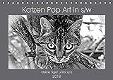 Katzen Pop Art in s/w - Kleine Tiger unter uns (Tischkalender 2018 DIN A5 quer): Unsere Lieblinge einmal in einer