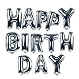 NUOLUX 18-Zoll-Alphabet Buchstaben Ballons Happy Birthday Party Dekoration Aluminium Folie Membran Ballon (Silber)