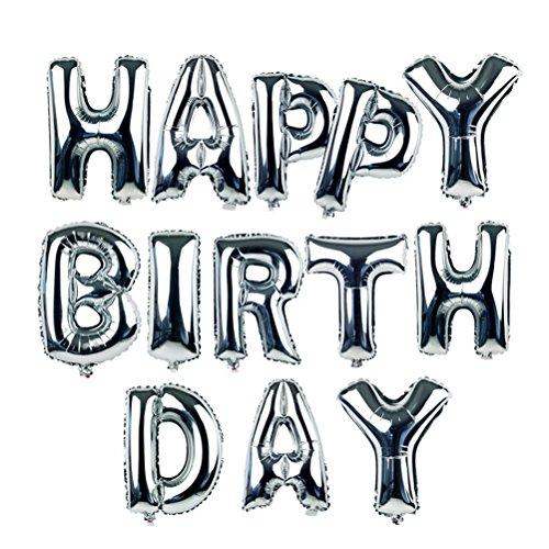 Preisvergleich Produktbild NUOLUX 18-Zoll-Alphabet Buchstaben Ballons Happy Birthday Party Dekoration Aluminium Folie Membran Ballon (Silber)
