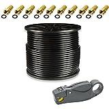100m PremiumX Koaxial Kabel Schwarz 130 dB Reines Kupfer CU Koaxialkabel Sat Koax Antennenkabel FullHD HDTV + Universal Abisolierwerkzeug + 10x F-Stecker