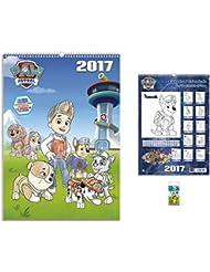 Set: La Patrulla Canina, Calendario Para Colorear 2017 (42x30 cm) Con 1x Llavero (6x4 cm)