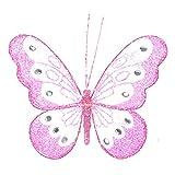 Homestreet 14 cm, Schmetterling mit Strassverzierung und Clip auf Unterseite, mittelgroße Butterflies, Nylon, rose, M