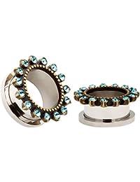 KUBOOZ Blue Crystal Flower Stainless Steel Flesh Tunnels Ear Plugs Expander Gauges Piercing Stud Jewelry