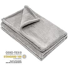 Jacky Kuscheldecke, Babydecke, Fleece - Baby Decke / Unisex / 75 x 100 cm / Öko - Tex schadstoffgeprüft, allergikergeeignet - Grau