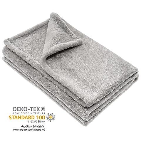Couverture polaire pour bébé / plaid / microfibres / douce / chaude / unisexe / 75 x 100 cm / Öko-Tex sans substances nocives et hypoallergénique - gris