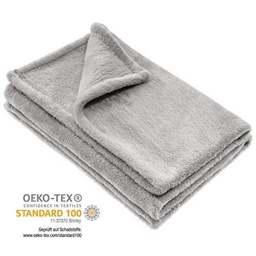 Jacky Kuscheldecke Babydecke, Fleece - Baby Decke Unisex | Krabbeldecke 75 x 100 cm - Öko-Tex schadstoffgeprüft, allergikergeeignet - Grau