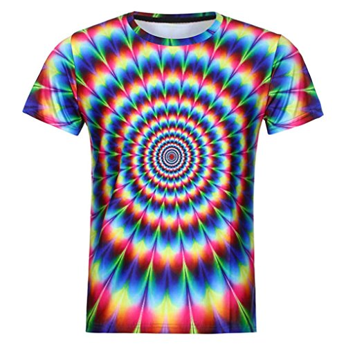 GreatestPAK Sommer T-Shirts Männer Herren Lustige Jungen 3D Print Kurzarm Top Bluse,Mehrfarbig,XL