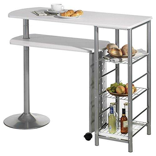 IDIMEX Table Haute de Bar JOSUA Mange-Debout comptoir avec Tablette Mobile et 3 étagères, piètement en métal laqué Couleur Aluminium et tablettes en MDF décor Blanc