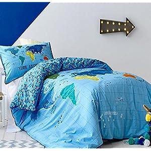SQL 100% algodón ropa de cama de colcha de una familia de cuatro hojas de mapas rey / reina / completa