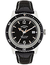 Rotary Men's Quartz Watch with Black Dial Analogue Display and Black Leather Strap GS02694/04