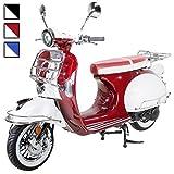 Znen Retro Star Motorroller ZN125T-27 125 cc Euro 4 Retro Roller Motor Roller Motorrad Sportroller 85km/h (Burgundy/Creme)