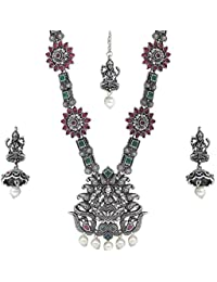 f97c4e30f5 Matushri Art Indian Traditional German Silver Antique Jewelry of God Laxmi  with Beautiful Peacock Necklace Set