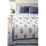 KADAIR BUX RAZAI Emporium Grey And Black Rajasthani Designer, Jaipuri Quilt/Razai,dohar/ac Blanket Hand Block Printed And Handmade ~ King Size 90X108 Inches Cotton Double Razai - Multi-Color