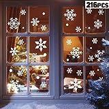 heekpek 216 Weihnachts Schneeflocke Aufkleber Weihnachts Aufkleber Winter Weihnachten Fenster Dekoration Trockene Wand Glas Spiegel Fenster / 4 Stück