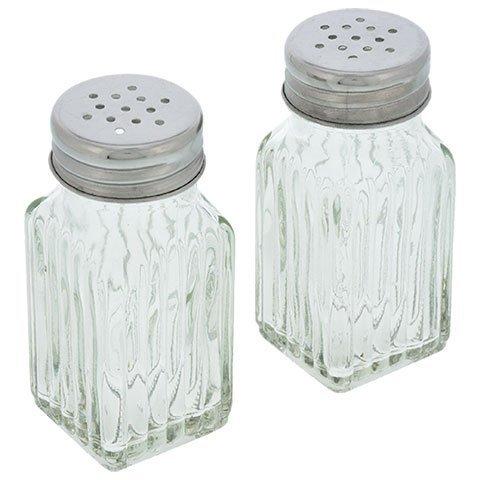 Glas Edelstahl Top (Retro Style Salz und Pfeffer Shaker mit Edelstahl Tops (2))