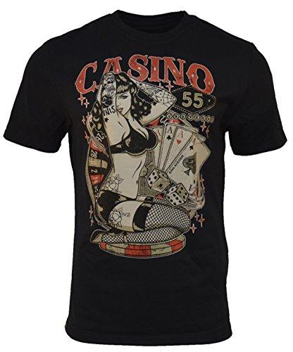 King Kerosin Casino 55 Regular T-Shirt Schwarz Skull Rock Metal Rockabilly XL