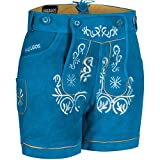 PAULGOS Damen Trachten Lederhose + Träger, Echtes Leder, Kurz in 8 Farben Gr. 34-50 M2, Farbe:Blau, Damen Größe:42