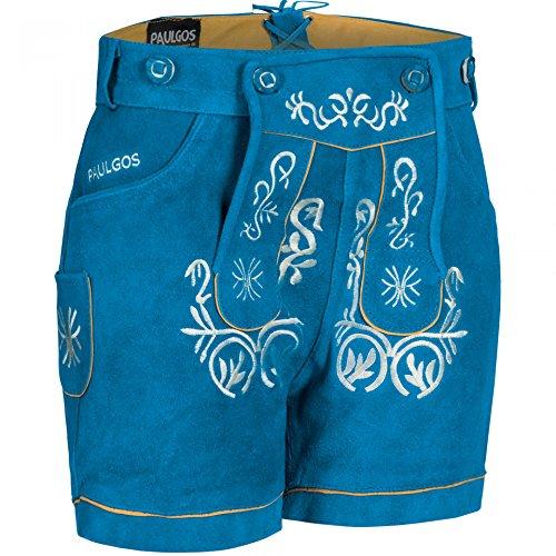PAULGOS Damen Trachten Lederhose + Träger, Echtes Leder, Kurz in 8 Farben Gr. 34-50 M2, Farbe:Blau, Damen Größe:40