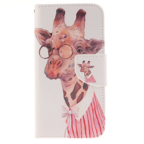 Price comparison product image For Samsung Galaxy S6 Leather Flip Case Cover,Meet de Painted pattern PU Leather Stand Function Protective Cases Covers with Card Slot Holder Wallet Book Design,Soft TPU Silicone Inner Bumper Full Protection Cover Detachable Hand Strap for Samsung Galaxy S6 - Fashion giraffe