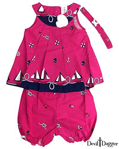 Devil Dagger Baby Kid Set, 3 Pieces, Top/Shorts/Headband, Nautical Baby Princess Dress (24M, Magenta ()