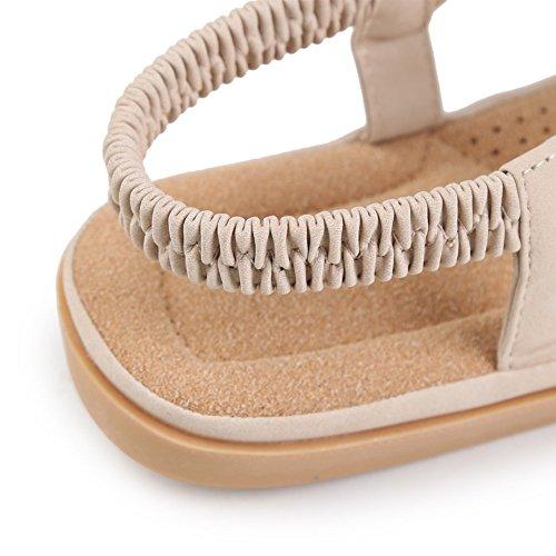 Damen-Peep rund Clip Zehen Strass elastisch t-strap Bohemia römischen Sandalen Sommer Strand Post Sandalen Flip Flops Flache Schuhe Badeschuhe Aprikose