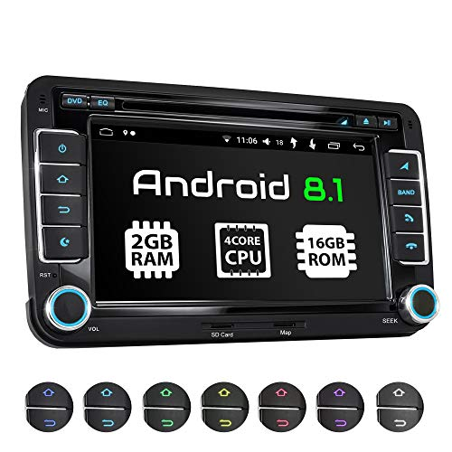 XOMAX XM-10GA Autoradio mit Android 8.1 passend für VW SEAT Skoda, 4Core, 2GB RAM, 16GB ROM, GPS Navigation, DVD, CD, USB, SD I Support: WiFi 4G, DAB+, OBD2 I Bluetooth I 7 Zoll / 18 cm Touchscreen