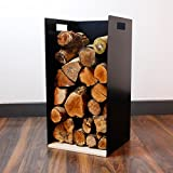 62cm Tall Modern Firewood Log Store Holder for Woodstove Fireplace Wood Holder - UK Made - Ivory White