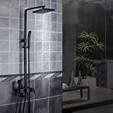 MMYNL Badarmaturen thermostatische Dusche Set Badewanne & Dusche Systeme Voll Kupfer Körper Vier Schwarze Quadrat Matt Duschkopf Duscharmaturen