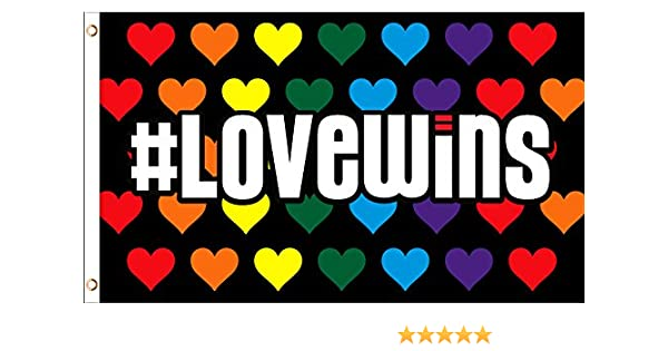 Rainbow Love Wins Pride Drapeau Gay Lesbienne LGBT cœur 3x5 en polyester