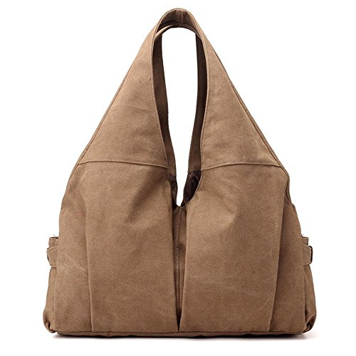 Borsa grande della lettera di modo della borsa della spalla della ragazza del sacchetto della tela di canapa Brown