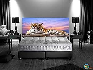 sticker autocollant t te de lit panoramique tigre couch de soleil 180x72cm. Black Bedroom Furniture Sets. Home Design Ideas