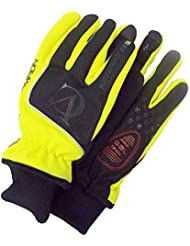VeloChampion Guantes de ciclismo impermeables para invierno - Deep Winter Cycling Gloves (Blk/Fluoro Yel/Silver, Large)